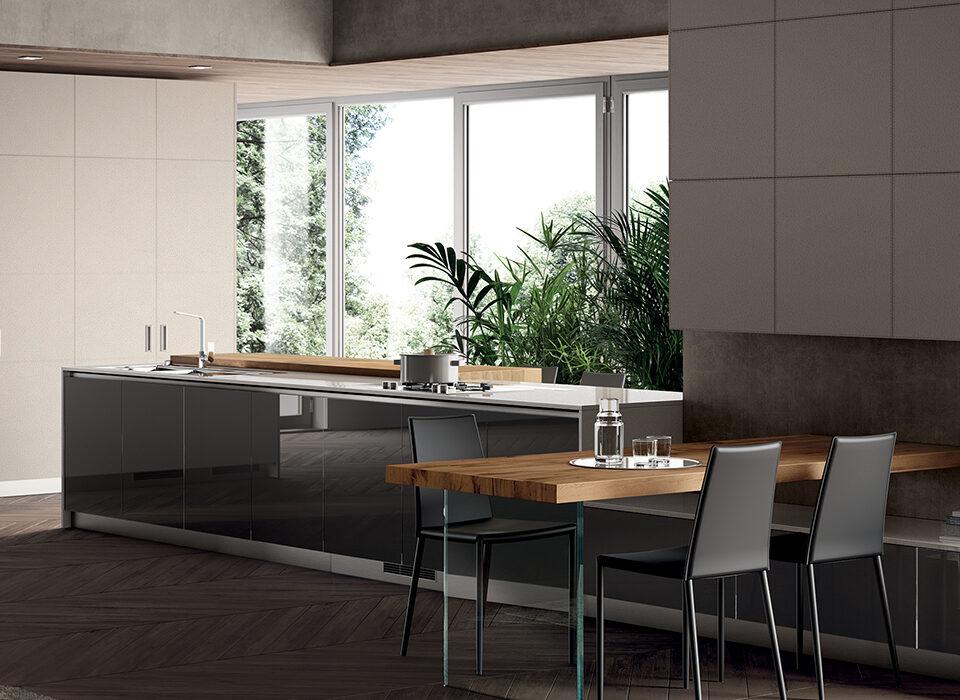 Mobili Lazzeretti, arredamenti zona giorno: cucina Scavolini LiberaMente grigio perla